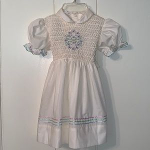 Vtg Polly Flinders ivory dress with smocked bodice